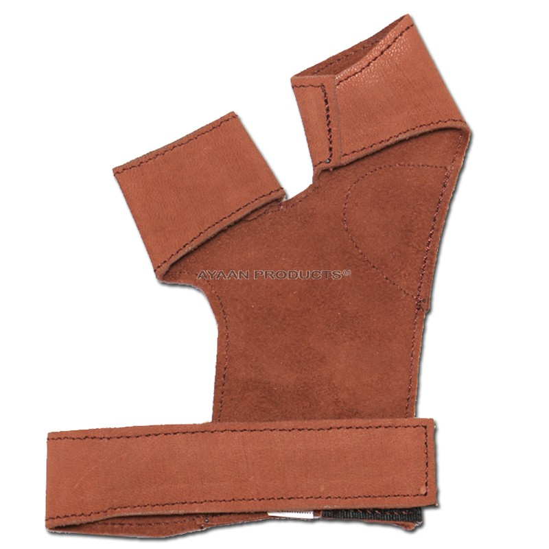 Brown Leather Archery Shooting Gloves