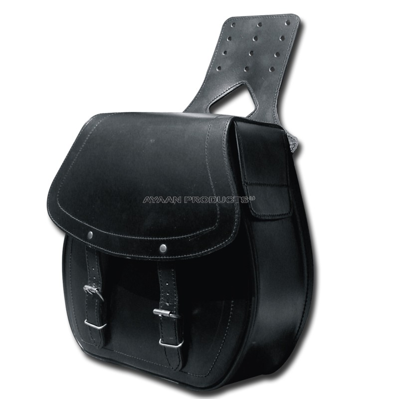 English Style Black Leather Saddle Bag