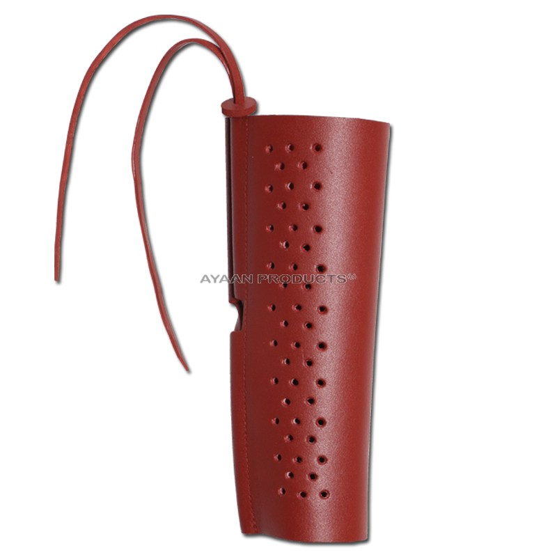 Leather Arm Guard Archery Handmade Maroon Bird